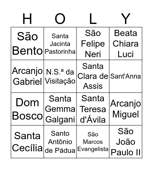 HOLYWINS SHAMMAH & JPII Bingo Card