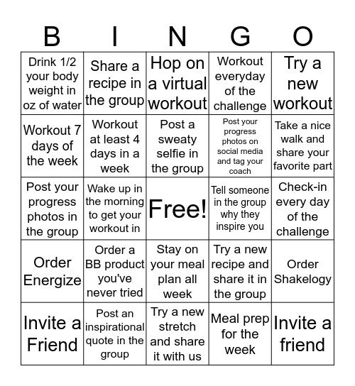 Fall Into Fitness Challenge Bingo Card