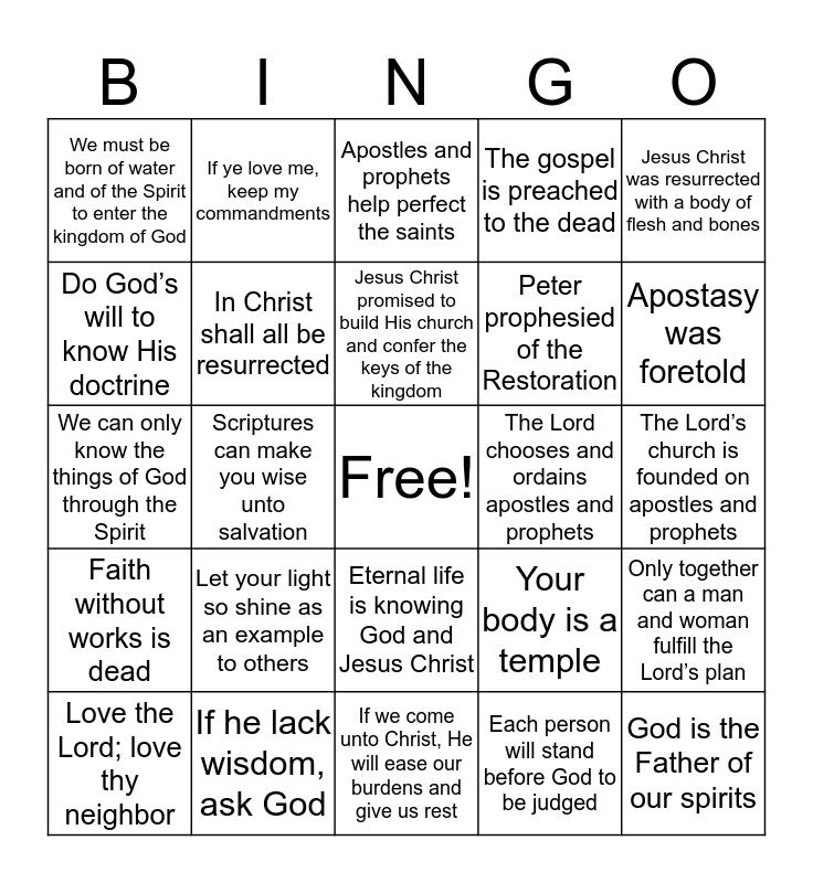 Doctrinal Mastery - New Testament Bingo Card