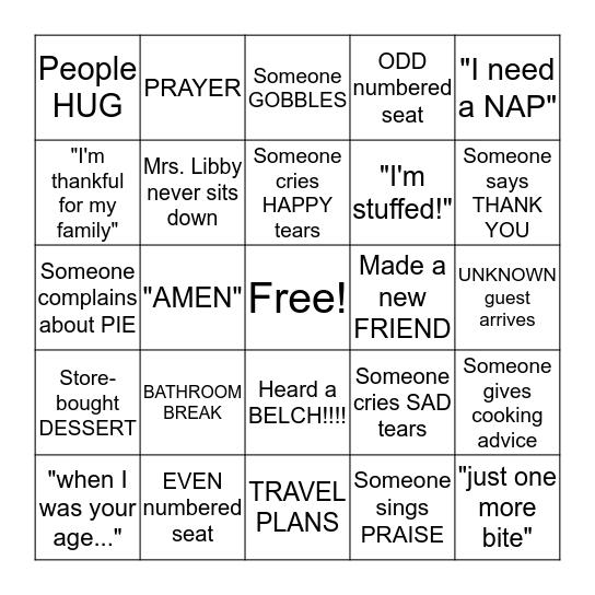 Gals-Giving Bingo Card
