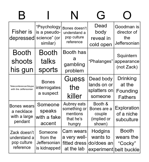 The Bingo In The Bones #6 Bingo Card