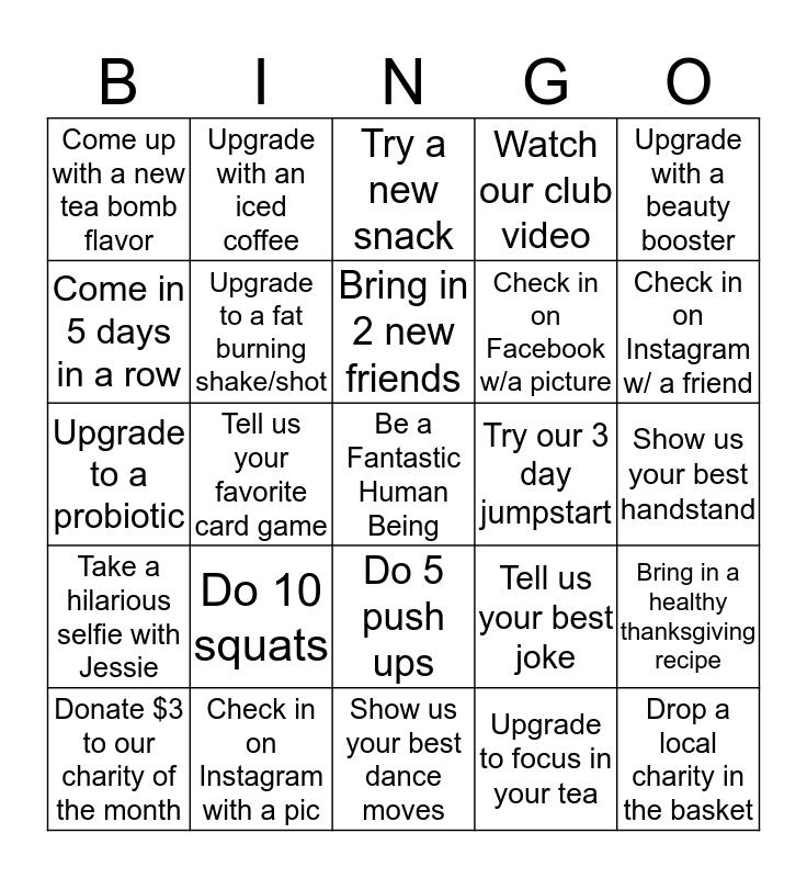 Turkey Turn Up Bingo Card
