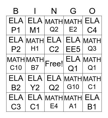 IXL 1 Bingo Card