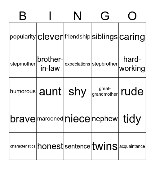 The People Around Us Bingo Card