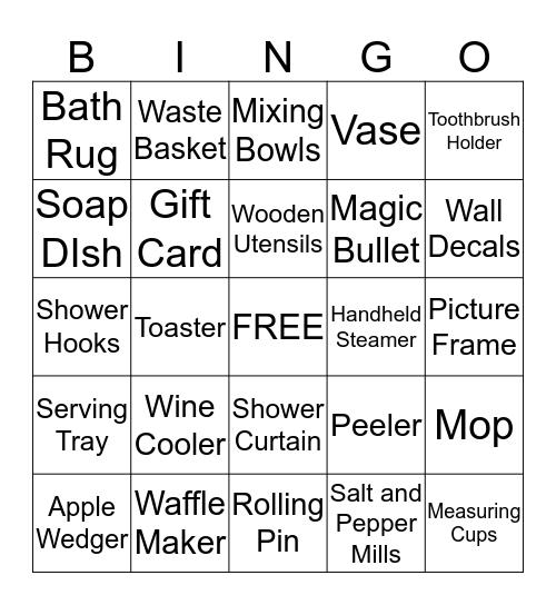Alicia's Bridal Shower Bingo Card