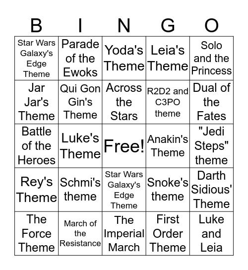 The Rise of Skywalker Musical Theme Bingo Card