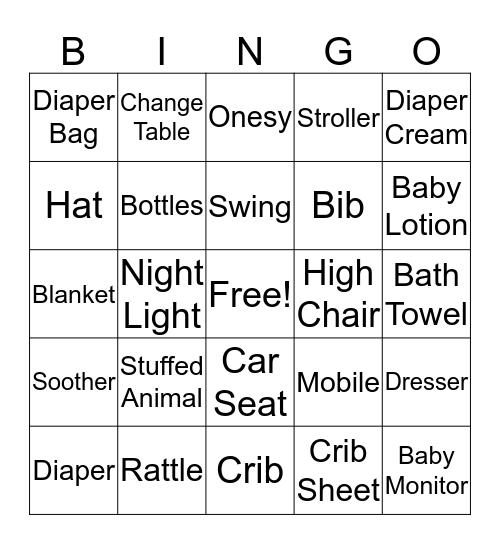 Olga's Baby Shower Bingo Card