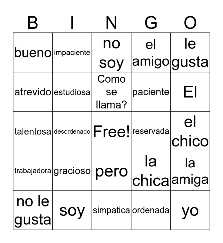 Personality Traits Bingo Card