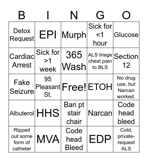 Sunday Lynn Crew EMS Bingo Card