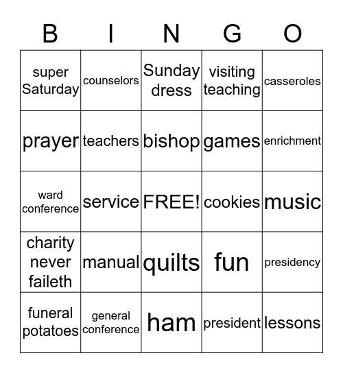 Relief Society Bingo Card