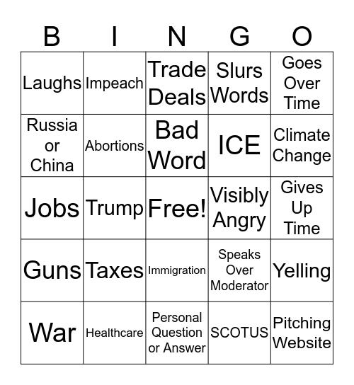 Democratic Primary Debate Bingo Card