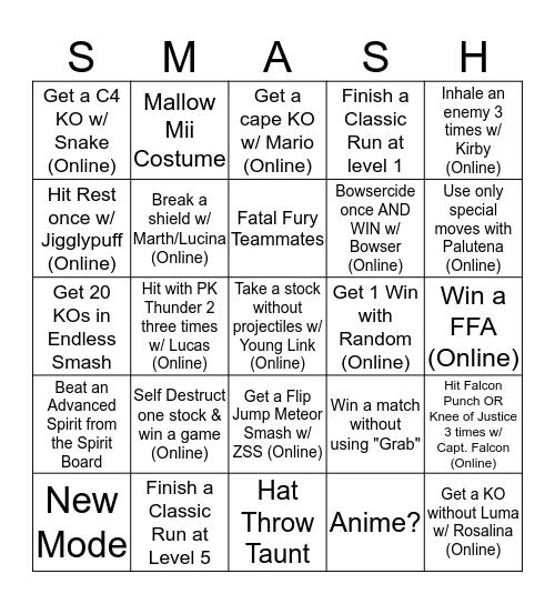 Smash Bingo Card
