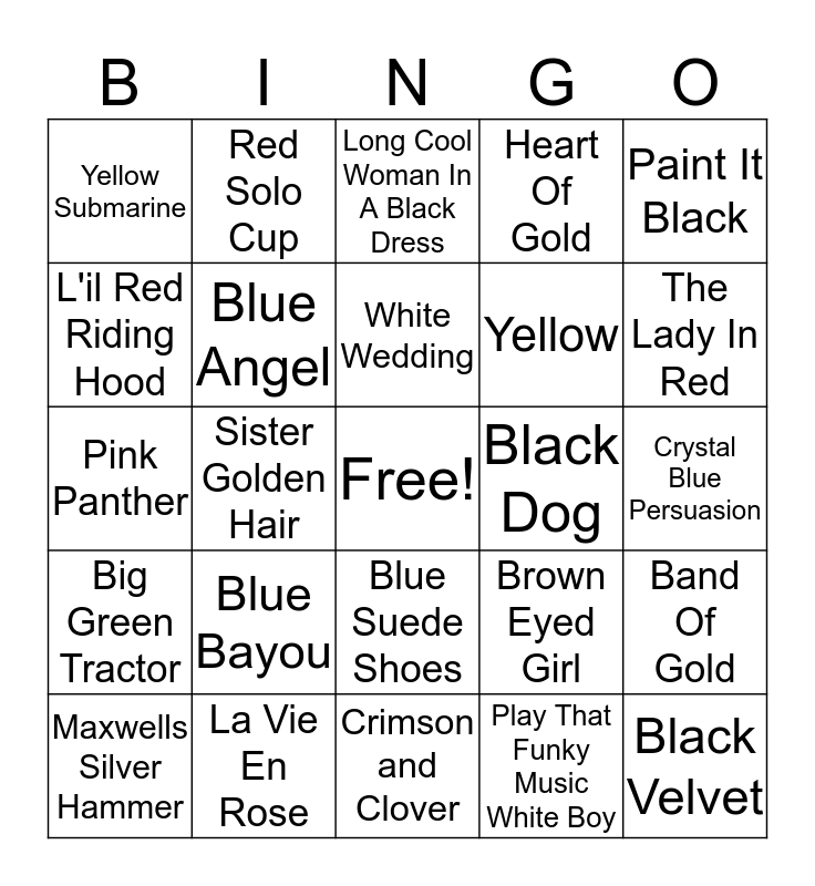 Colors 3 Bingo Card