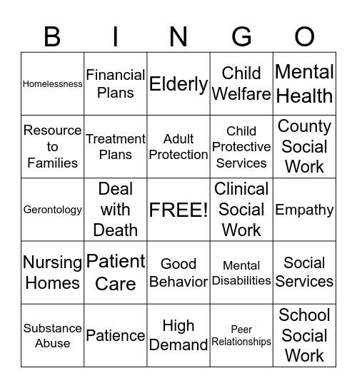 5 Areas of Social Work Bingo Card