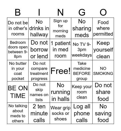 Rules of the Unit Bingo Card