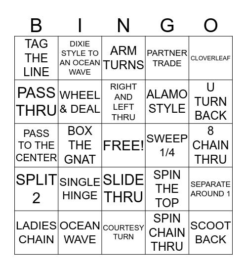 SQUARE DANCE BASIC AND MAINSTREAM CALLS Bingo Card