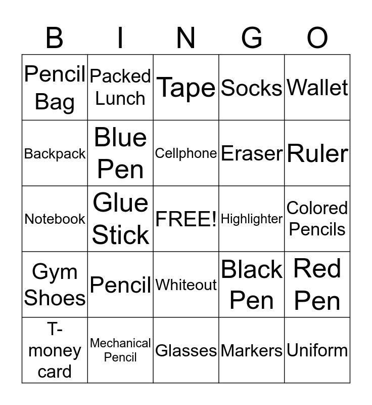 Things to bring to school! Bingo Card
