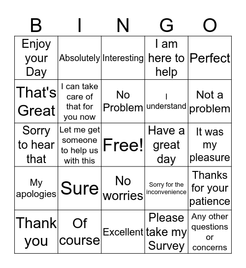 Team Palmer Bingo to build Survey scores  Bingo Card