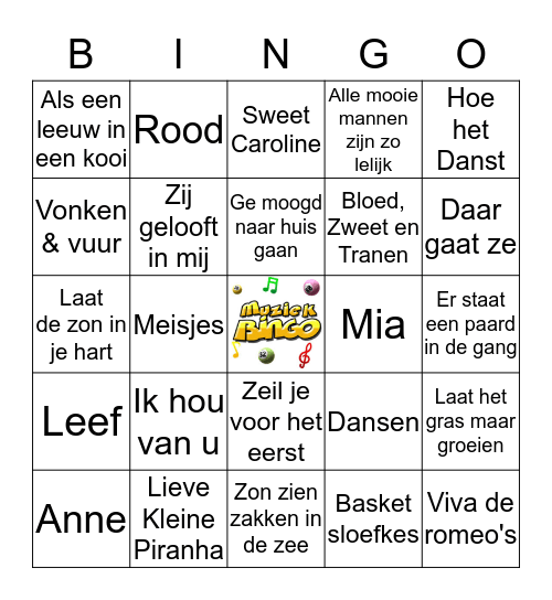 Muziekbingo  Bingo Card