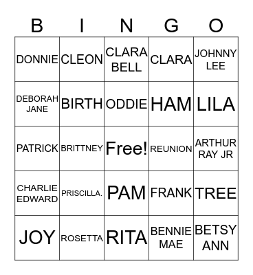 COOK FAMILY Bingo Card
