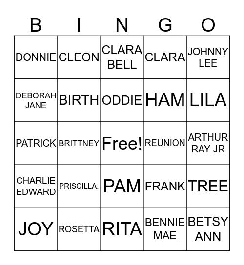 COOK FAMILY Bingo Card