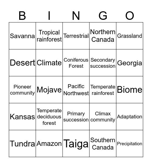Terrestrial Biomes Bingo Card
