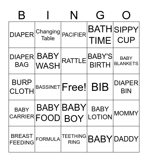 BABY SHOWER BINGO!!! Bingo Card