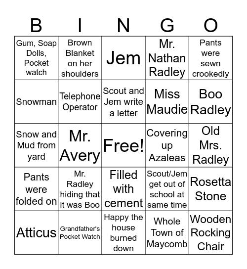 To Kill A Mockingbird: Chapters 7 & 8 Bingo Card