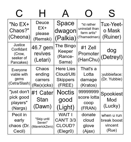 ddrox Chaos Bingo Card