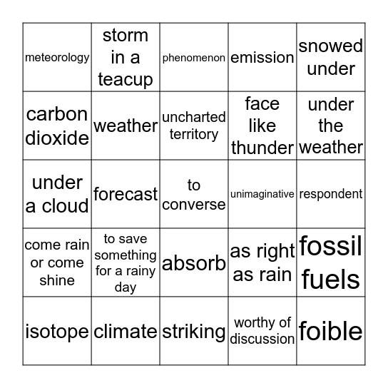 Is It Raining Cats And Dogs Bingo Card