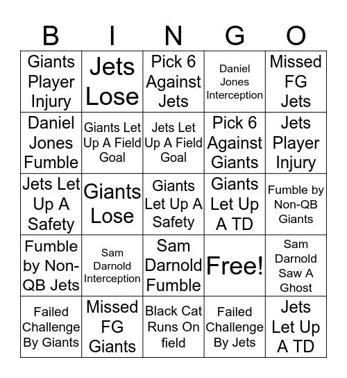 Futility Bowl 2019 Bingo Card