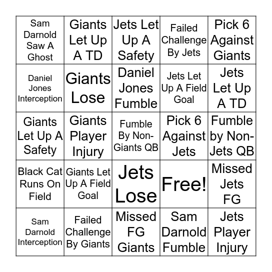 Futility Bowl 2019 Bingo Card