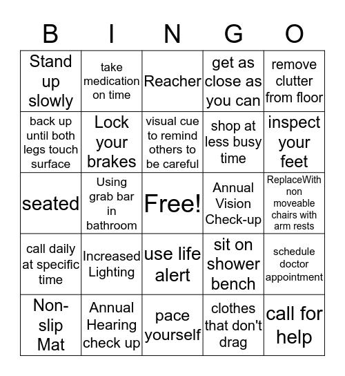Fall Prevention Bingo Card