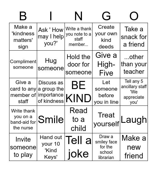 WGS Key Club's Kindness Challenge  Bingo Card