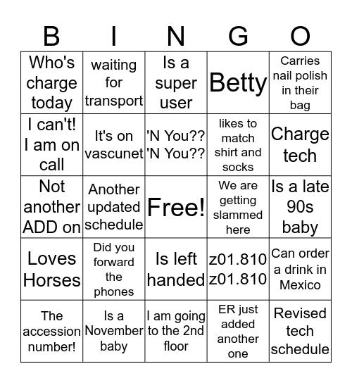 Vascular Lab Bingo Card