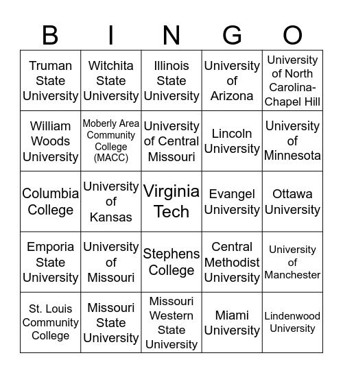 AVID College Bingo Card