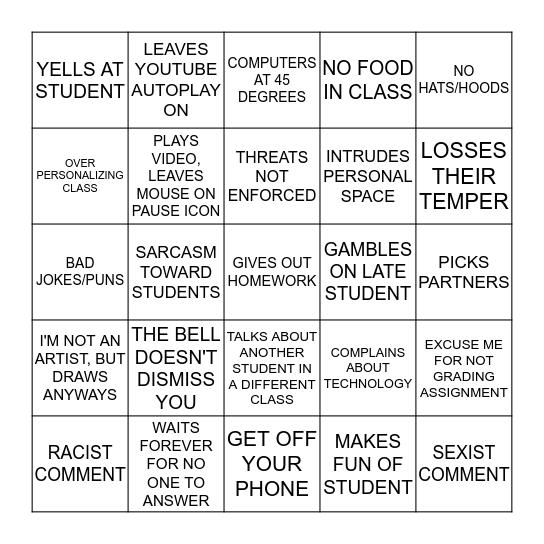 TEACHERS ACT OUT Bingo Card