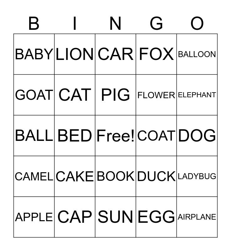ALPHABET B I N G O Bingo Card