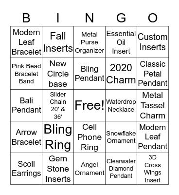 Jewelry Bingo Card