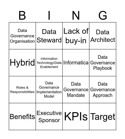 Data Governance Bingo Card