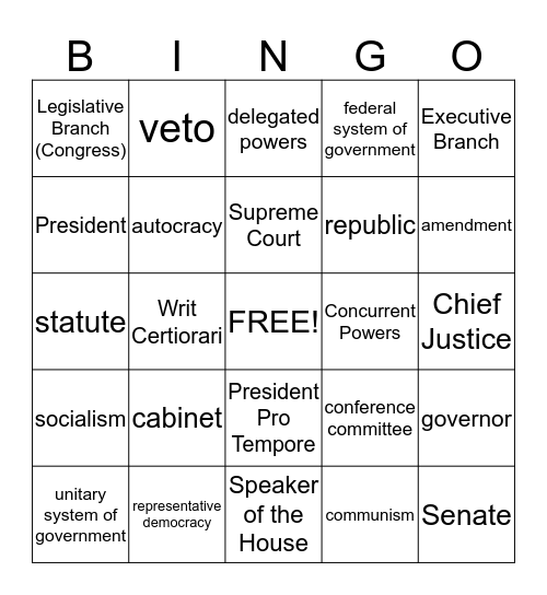 Organization and Function of Government Bingo Card