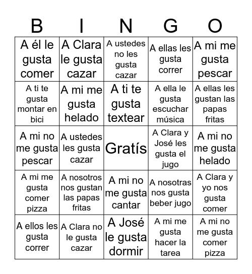 Gustar Bingo Card