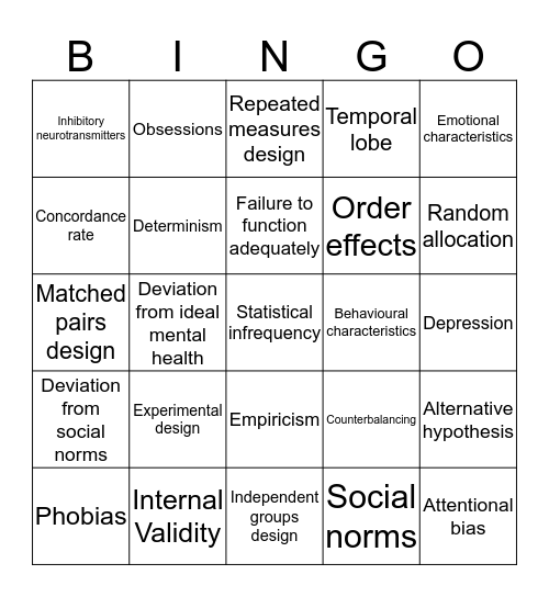 Key Terms Bingo Card