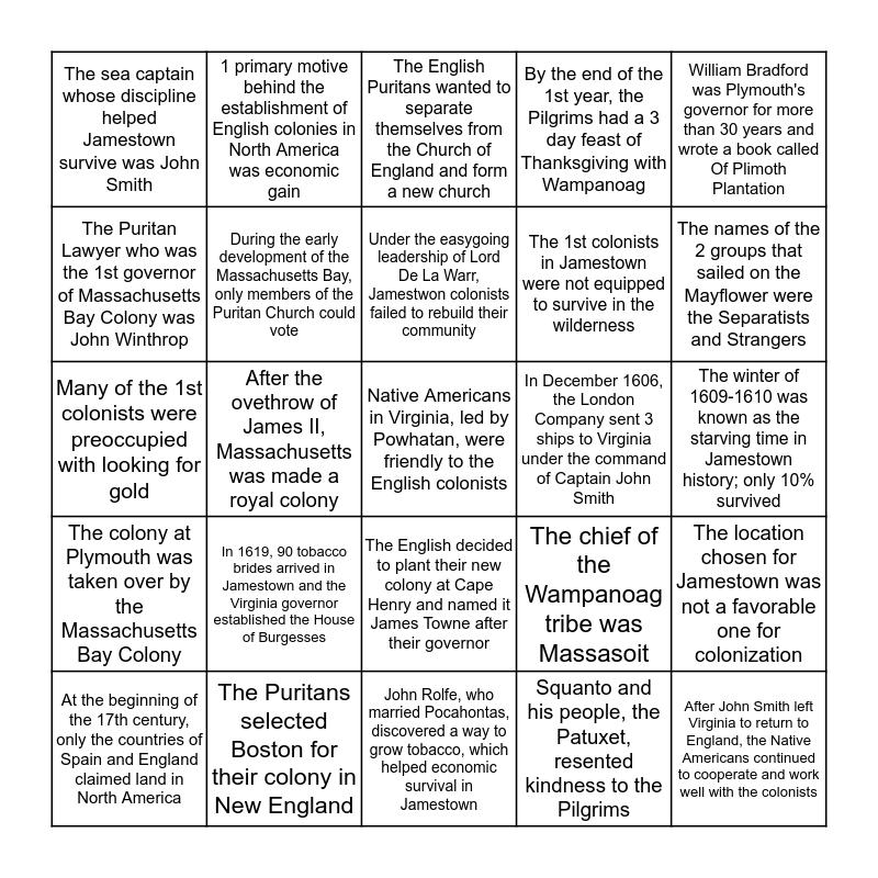 History Lessons 9 & 10 Bingo Card