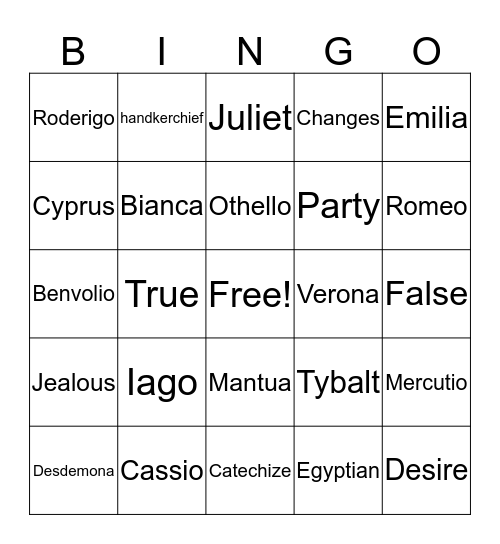 Othello / R&J Bingo Card