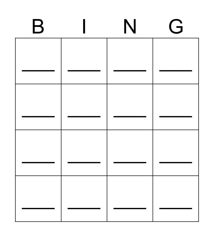 SUPER Bingo Card