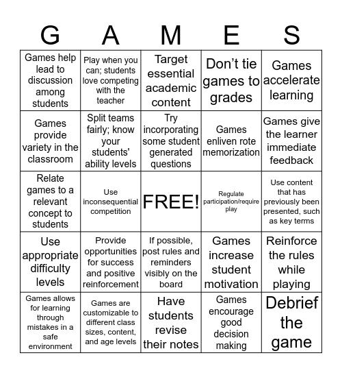 Academic Games Bingo Card