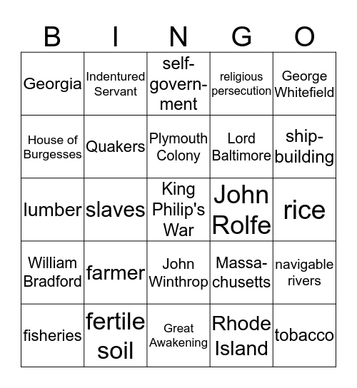 13 Colonies Bingo Card