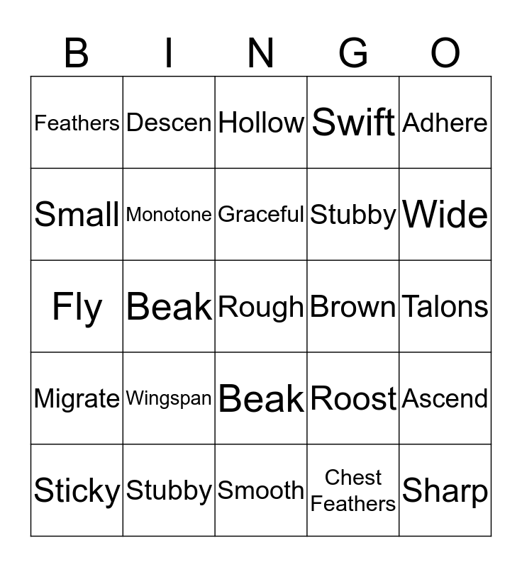 Observing Nature Bingo Card