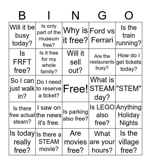 Ford STEAM Day Bingo Card